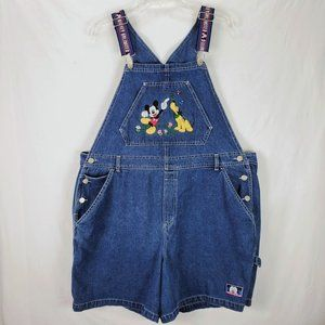 Vintage Mickey Mouse Denim Overall Shorts 20W